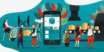 personaggio dei cartoni animati piatto. illustrazione vettoriale per tecnologia, rivoluzione industriale 4.0, industria, e-commerce. l'app mobile rende facile e vantaggioso per i produttori, la spedizione per ottenere l'ordine dal cliente.