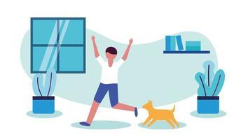 uomo con il cane a casa disegno vettoriale