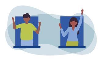 avatar di donna e uomo al disegno vettoriale di finestra