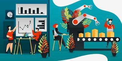 personaggio dei cartoni animati piatto. illustrazione vettoriale per tecnologia, fabbrica, vendite, marketing. lavoratore che fa prodotto con la macchina più recente e la mano del robot. pianificazione uomo d'affari per il prossimo obiettivo di raggiungimento delle vendite