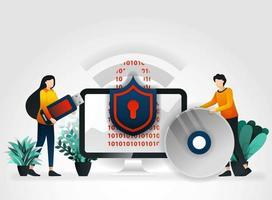 personaggio dei cartoni animati piatto. le persone proteggono i dispositivi di archiviazione come unità flash, dischi rigidi, dischi compatti con antivirus. Il settore della sicurezza del software online per l'archiviazione fornisce una protezione stretta e VIP vettore
