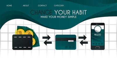 rendi i tuoi soldi e bitcoin più facili con una carta di credito o di debito e più facilmente con il concetto di illustrazione vettoriale dell'applicazione senza contanti, può essere utilizzato per presentazioni, web, banner ui ux, pagina di destinazione