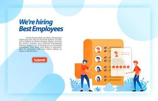 raccogliere i dati personali dei lavoratori o chi cerca lavoro riprende ad assumere i migliori potenziali dipendenti. stiamo assumendo. concetto di illustrazione vettoriale per pagina di destinazione, ui ux, web, app mobile, poster, banner, flyer, annunci