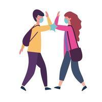 scuola ragazzo e ragazza con maschera medica e gomito saluto disegno vettoriale