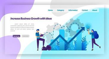 aumentare la crescita del business con l'idea. grafico finanziario per aumentare il valore dell'azienda e l'esperienza nel business. concetto di illustrazione vettoriale per pagina di destinazione, modello, ui ux, web, app mobile, poster, banner