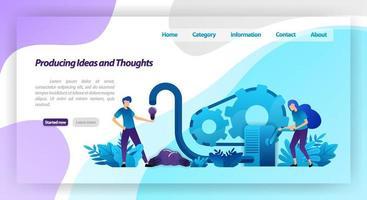 macchine per produrre idee, pensieri e ispirazioni, lavoro di squadra nelle imprese. concetto di illustrazione vettoriale per pagina di destinazione, modello, ui ux, web, app mobile, poster, banner, sito Web, flyer, annunci