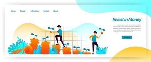 investire attività finanziarie in contanti e far crescere il business con pianificazione, prestiti e investimenti di capitale per ottenere un profitto crescente. concetto di illustrazione vettoriale per pagina di destinazione, ui ux, web, app mobile, poster, banner