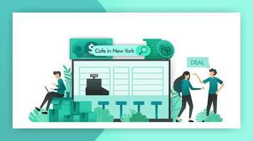 attività in vendita. alla ricerca di piccole imprese che vogliono vendere. caffè che viene negoziato per essere acquistato dagli investitori con una strategia di cooperazione. concetto di illustrazione vettoriale per mobile web pagina di destinazione