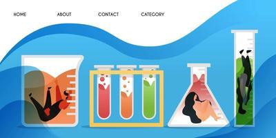 bloccato in laboratorio. raccolta di scienziati che sono stati coinvolti nella ricerca, sfondo modello vettoriale isolato, può essere utilizzato per presentazione, web, banner ui ux, pagina di destinazione