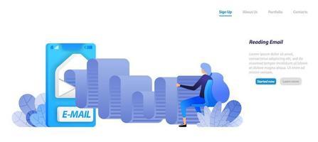 leggere i rotoli di posta elettronica. app di posta mobile con buste. le donne sono sedute e leggono la comunicazione moderna. concetto di illustrazione piatta per pagina di destinazione, web, interfaccia utente, banner, flyer, poster, modello, sfondo