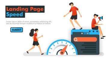 illustrazione vettoriale di velocità della pagina di destinazione. le persone misurano la velocità sul web e sui motori di ricerca per ottimizzare il seo nell'elaborazione di parole chiave e risultati di ricerca. può essere utilizzato per il marketing di annunci per app mobili di siti Web