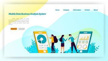 sistema di analisi aziendale di dati mobili per applicazioni. con disegno isometrico finanziario e aziendale. concetto di illustrazione vettoriale per pagina di destinazione, ui ux, web, app mobile, poster, banner, sito Web, flyer