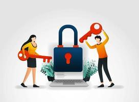 concetto di illustrazione vettoriale. le persone hanno la chiave per tentare di accedere e sbloccare la sicurezza delle applicazioni, ma non riescono perché la protezione esecutiva e i prodotti dell'azienda di servizi di sicurezza sono molto buoni. vettore