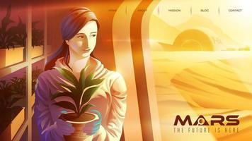 scienziato femminile che lavora nel centro delle piantagioni su Marte vettore