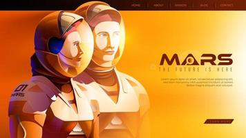 astronauti in piedi insieme e pronti per la più grande missione su Marte