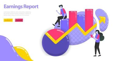 illustrazione del rapporto sugli utili. aumentare il reddito aziendale e aziendale. grafico e grafico a torta per le statistiche. concetto di vettore piatto per pagina di destinazione, sito Web, mobile, app, banner, poster, flyer, brochure