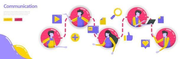 illustrazione della comunicazione. le persone sono collegate tra loro nella comunicazione e nella linea comunitaria. i social media connettono le persone. concetto di vettore piatto per pagina di destinazione, sito Web, mobile, app, banner
