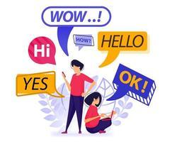 le persone si salutano e chiacchierano. bolla, palloncino e chat box con parole che possono essere utilizzate tutti i giorni o la prima chat. illustrazione vettoriale per web, pagina di destinazione, banner, app mobili, carta, libro
