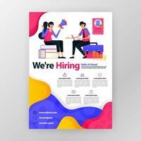 stiamo assumendo poster aziendali dipendenti con illustrazione di cartone animato piatto. colloquio di lavoro volantino opuscolo brochure copertina di una rivista design layout spazio per la promozione marketing, modello di stampa vettoriale formato a4