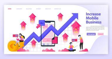 leggere e aumentare le vendite di smartphone e i profitti delle vendite. leggere dati finanziari e diagrammi aziendali. concetto di illustrazione vettoriale piatto per pagina di destinazione, sito Web, web, app mobili, interfaccia utente ux, banner, sfondo