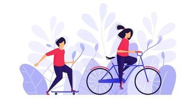 le persone si esercitano, si rilassano e si godono il pomeriggio nel parco in bicicletta e sullo skateboard. illustrazione di vettore di concetto di carattere per pagina di destinazione web, banner, app mobili, carta, illustrazione di libri
