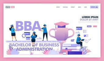 bba o bachelor of business administration è un programma universitario per affari ed economia, le persone imparano a ottenere un master in economia aziendale o mba. disegno vettoriale illustrazione piatta.
