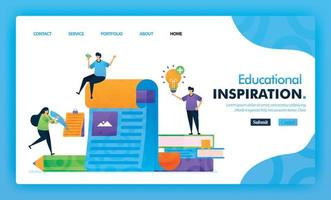 concetto di illustrazione della pagina di destinazione torna a scuola di ispirazione nell'apprendimento. studiare educativo per il marketing e la promozione può essere utilizzato per sito Web, web, app per dispositivi mobili dell'interfaccia utente, flyer, poster, app mobile, brochure