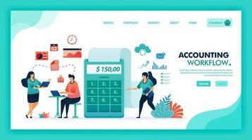 brainstorming dei contabili e incontro di lavoro per calcolare l'utile e il bilancio dell'azienda con una calcolatrice gigante per pubblicare rapporti di lavoro, contabilità e flusso di lavoro bancario. disegno vettoriale illustrazione piatta.