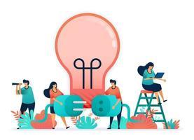 lampadine da accendere con l'elettricità. collegare spina e prese. metafora di idee, ispirazione, lavoro di squadra. creatività nel mondo degli affari, indipendenza nella risoluzione dei problemi, brainstorming per la soluzione vettore
