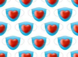 maschera medica con cuore rosso realistico vettore