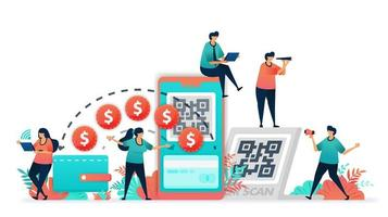 conversione da transazione convenzionale con banconote o denaro a portafoglio digitale. scansiona il codice qr per mobile banking e sistema di pagamento senza contanti, tecnologia fintech o finanziaria, società senza contanti. vettore