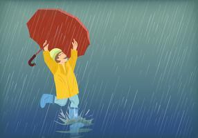 Bambini che giocano sotto la pioggia vettore