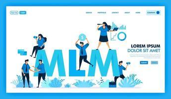 Il programma di affiliazione mlm è ottenere molti downline e ottenere profitti. Il valore del prodotto in attività di marketing multilivello è alla ricerca di nuovi clienti e rivenditori per migliorare l'azienda. disegno vettoriale illustrazione piatta.