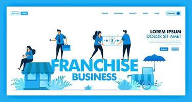 Il sistema aziendale in franchising è un business aperto e un rivenditore per aumentare e accelerare la crescita dei profitti, dei clienti, dei vantaggi e dell'azienda. partecipazione agli utili nel settore del franchising. disegno vettoriale illustrazione piatta.