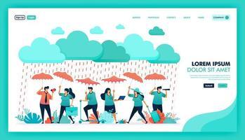 proteggiti e proteggiti con prodotti assicurativi sanitari di alta qualità e garantiti, le persone indossano ombrelli per proteggersi dalla pioggia, programma di riferimento assicurativo. disegno vettoriale illustrazione piatta.