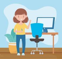 formazione in linea, insegnante in camera con scrivania, penna e computer vettore
