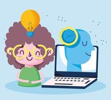formazione in linea, creatività del profilo del laptop del ragazzo dello studente vettore