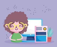 istruzione in linea, ragazzo studente con certificato di computer
