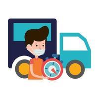 uomo di consegna veloce e camion ecommerce shopping online covid 19 coronavirus