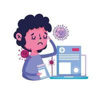 uomo con laptop freddo e disegno vettoriale virus covid 19