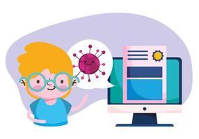 istruzione online, diploma di computer studente ragazzo, pandemia di coronavirus