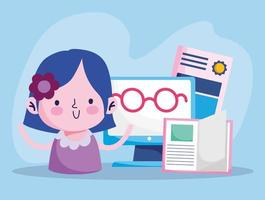 istruzione in linea, ragazza studentessa con libro diploma occhiali computer
