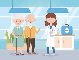 medico donna e nonni in ospedale, medici e anziani vettore