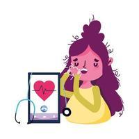 donna isolata con tosse secca e disegno vettoriale di smartphone