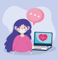 donna con laptop maschera e disegno vettoriale bolla