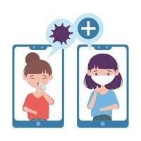 virus covid 19 all'interno del disegno vettoriale di donne e smartphone