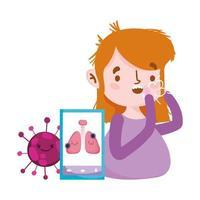 donna con smartphone per la tosse secca e disegno vettoriale virus covid 19