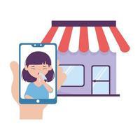 donna con tosse secca all'interno di smartphone e negozio di disegno vettoriale