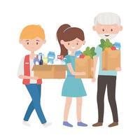 venditore vecchio e ragazza con prodotti all'interno di scatola e sacchetti di disegno vettoriale
