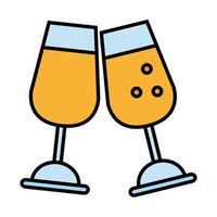 bicchieri di vino bere linea e icona di stile di riempimento
